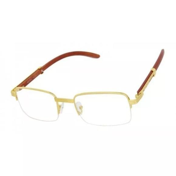 Men/'s CLASSY Style SUN GLASSES Gold /& Wood Wooden Effect Fashion Frame Dark Lens